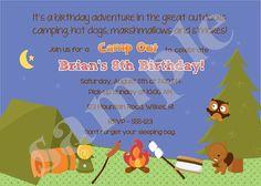 Boy Camping Birthday Invitation/ Camp Out/Camping by jcbabycakes