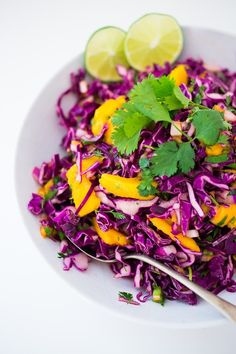 Caribbean Cabbage and Mango Slaw- this healthy, detoxing recipe is low in fat, vegan and gluten free. Makes a great side...or try this in my Caribbean Shrimp Tacos! | www.feastingathome.com Mango Recipes, Slaw Recipes, Cabbage Recipes, Detox Recipes, Vegan Recipes, Juicer Recipes, Delicious Recipes, Caribbean Recipes, Sauces