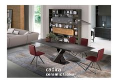 Victoria extendable table with Candy dining chairs. Depicted in Blaze Dark porcelain. Available in fixed and extendable formats, both in porcelain and Dekton. Contemporary Furniture, Contemporary Design, Dining Room Table, Dining Chairs, Leather Bed, Dinner Table, Sofa Design, Modern Bedroom, Kitchen Design