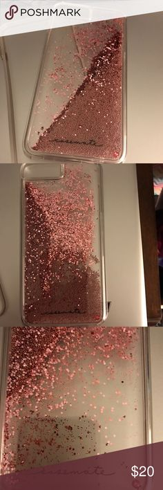 IPHONE 7 plus phone cover Clear case with rose gold glitter and beads that cascade. Very pretty slightly used for a week taken good care of no cracks at all casemate Accessories Phone Cases