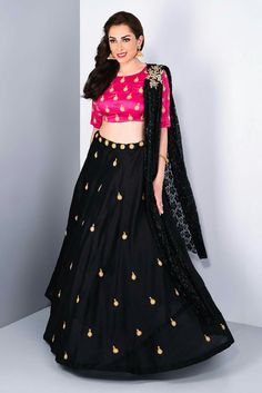 STUDIO 41 JAIPUR - pink and black butti lehenga set #flyrobe #weddings #friendsofthebride #designerwear #indianweddings#indianweddingoutfits#mybffswedding