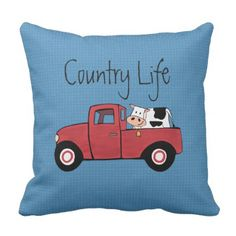 "Little Red Truck Country Cow Throw Pillow 16"" x16"" - decor diy cyo customize home"