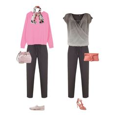 How to wear joggers and a jump suit.  These items may not have been my choices, but they look fine for we 50+ers -  djc