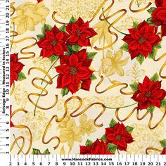 Christmas Poinsettia Ribbon Cream and White Cotton Fabric