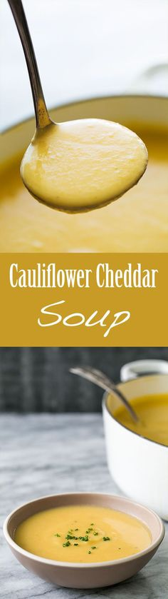 Best soup ever on a chilly day! Delicious, smooth, creamy cauliflower soup with sharp cheddar cheese. This soup will have your guests coming back for seconds! #Cauliflower #Soup #CauliflowerSoup #GlutenFree