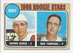 1968 Topps * 247 Reds Rookies Johnny Bench/Ron Tompkins Cincinnati Reds Baseball Card Can say Impressed the or tne Reds on back Deans Cards 4 VG/EX Reds ** Learn more by visiting the image link-affiliate link. Baseball Card Boxes, Baseball Card Values, Baseball Cards For Sale, Football Cards, Cincinnati Reds Baseball, Baseball Star, Baseball Players, Baseball Movies, Pirates Baseball