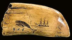 Antique Whale Tooth Scrimshaw