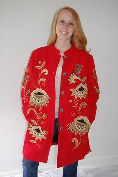SOLD! THANK YOU!  Indie jacket duster beautiful red with by LilaCInspirations, $65.00