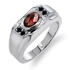 #blackdiamondgem #carbonado 1.53 Ct Oval Checkerboard Red Garnet Black Diamond 925 Silver Men's Ringby Gem Stone King - See more at: http://blackdiamondgemstone.com/jewelry/153-ct-oval-checkerboard-red-garnet-black-diamond-925-silver-men39s-ring-com/#sthash.fgA8LCMC.dpuf