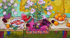 Fish, plums & a runner from Leon M 24X48                Acrylic on wood