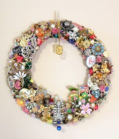 Handmade Vintage Jewelry Wreath, Spring or Summer