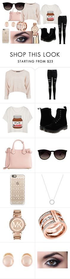 """""""Winter Sunnies"""" by samantha-3112 ❤ liked on Polyvore featuring Miss Selfridge, Dr. Martens, Burberry, Ray-Ban, Casetify, Michael Kors, Kenneth Jay Lane, Clarins and wintersunnies"""