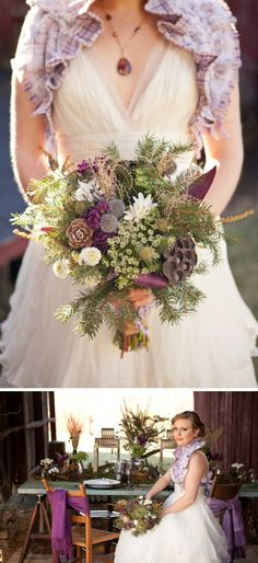 I like the mix of evergreen and purple. Floral inspiration. Elegant Country Wedding Inspiration by Lelia Marie Photography on BorrowedandBleu.com