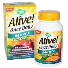 Nature s Way, Alive! Once Daily, Men s Multi-Vitamin, 60 Tablets
