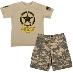 Trooper Clothing Army Tee & Shorts (72 BRL) ❤ liked on Polyvore featuring shorts, cotton shorts and army shorts