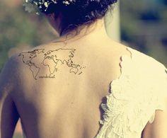 map tattoo wonderlust - i like the size. I want mine a little lower