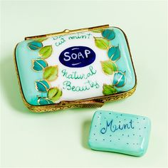 Limoges Mint Soap Box with Soap The Cottage Shop