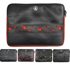 This fantastic Recycled Tire MacBook Sleeves  is made from recycled, or 'upcycled', rubber from inner tubes of tires. It is lined and padded with 100% recycled PET plastic – plastic from water bottles. They are vegan, and produced cruelty free. No animal products are used in the making of this laptop sleeve.