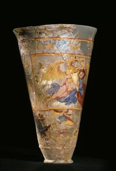 Roman glass painted beaker, century A. Afghanistan, Begram, Europe and Ganymede. Roman Artifacts, Ancient Artifacts, Ancient Rome, Ancient History, Art Romain, Corning Museum Of Glass, Art Asiatique, Painted Cups, Roman History
