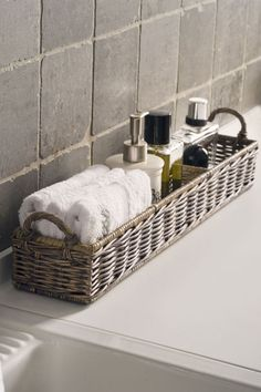 RUSTIC RATTAN RECTANGULAR BASKET