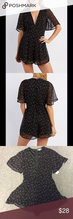 Starry Romper Sheer fabric over lining. Subtle baby pink stars. Zippered back. Fun n flirtatious. Deep V neck line. Brand is Charlotte Russe, similar style to free people n brandy melville n forever 21 though! Brandy Melville Dresses