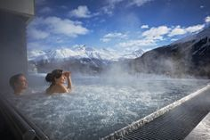 So wishing that were me... in the outdoor Jacuzzi pool of the Kulm Spa St Moritz...