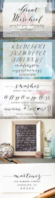 Great Mischief Hand Calligraphy. Script Fonts. $12.00
