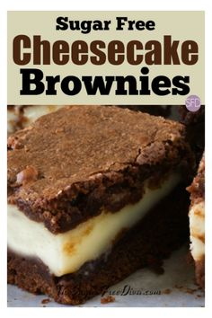 The perfect dessert or party idea! This is how to make yummy Sugar Free Cheesecake Brownies that you will also love to eat! Diabetic Desserts, Diabetic Recipes, Low Carb Recipes, Diabetic Foods, Desserts For Diabetics, Splenda Recipes, Cooking Recipes, Bariatric Recipes, Easy Recipes