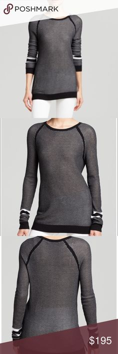 Rag & bone pullover Reminiscent of a sporty mesh jersey, this perforated rag & bone/JEAN top scores with on-trend athletic inspiration while still maintaining effortless style.  Viscose Dry clean Imported Crewneck, long raglan sleeves, striped sleeves Solid rib knit trim at neckline, arms, cuffs and hem Two-tone perforations, side slits, pullover style rag & bone Sweaters