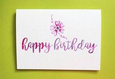 Happy Birthday Watercolor Blank Notecard 5 x 7 by PostmarkMiami