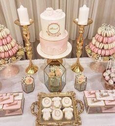 Inspirational Ideas For Wedding Cake Decorations - baby shower - Kuchen Rezepte Wedding Cake Decorations, Wedding Cake Designs, Wedding Desserts, Baby Shower Decorations, Wedding Cakes, Elegant Desserts, Christening Table Decorations, Easy Desserts, Birthday Table Decorations