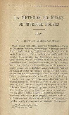 Edmond locard, la méthode policière de Sherlock Holmes, deuxième partie