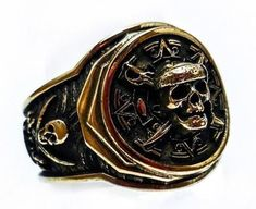 Pirate of the Caribbean Ring Jack Sparrow's Skull Ring Pirate Men's Biker Ring Brass Jewelry (BR-45) #Skullrings