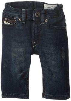 beeec304f Diesel Baby-Boys Infant Waykee B Regular Fit Straight Leg Superstretch  Treated Dark Indigo Denim