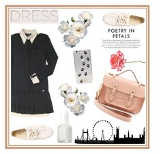 """""""Long Sleeve Dress"""" by julia-ngo ❤ liked on Polyvore featuring Chanel, The Cambridge Satchel Company, Essie, Kate Spade, contest, contestentry, longsleevedress and JuliaNgoReminders"""