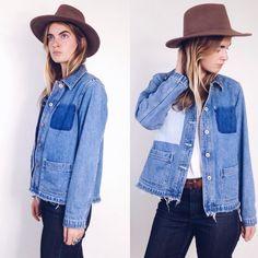 DENIM Vintage jean Work Jacket / Barn Coat by rackkandruinvintage