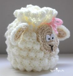Crochet Sheep Drawstring Bag - Repeat Crafter Me Crochet Sheep, Bag Crochet, Easter Crochet, Crochet Handbags, Crochet Purses, Crochet Gifts, Crochet For Kids, Crochet Toys, Crochet Baby