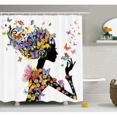 Butterflies Decoration Shower Curtain Set, Girl Fashion Flowers With Butterflies Ornamental Floral Foliage Nature Forest , Bathroom Accessories, X Inches, By Ambesonne Bathroom Decor Sets, Bathroom Design Small, Bathroom Accessories, Bathroom Designs, Butterfly Shower Curtain, Shower Curtain Rings, Fabric Shower Curtains, Bathroom Shower Curtains, Contemporary Small Bathrooms