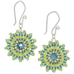 Mere Mandalas Earrings made with Brick Stitch Around a Bead