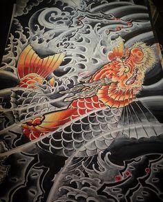 Koi Dragon Tattoo, Koi Fish Tattoo, Dragon Art, Japanese Textiles, Japanese Prints, Japanese Art, Naruto Tattoo, Asian Tattoos, Japanese Illustration