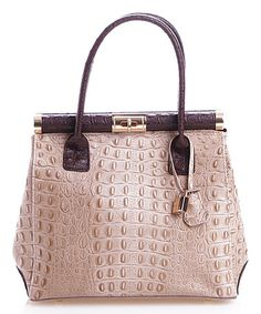 Look what I found on #zulily! Taupe & Brown Croc-Embossed Leather Satchel #zulilyfinds