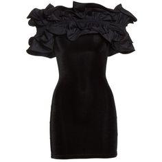 Women's Y/project Velvet Ruffle Dress ($915) ❤ liked on Polyvore featuring dresses, stretch velvet dress, little black dresses, flutter-sleeve dresses, short ruffle dress and velvet dress