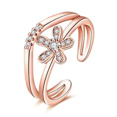 Trendy Rose Gold Plated Plant Cubic Zirconia Ring for Women GPR1405