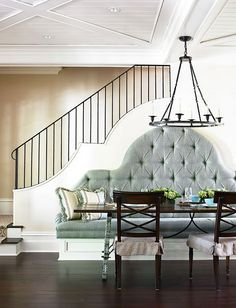love the bench seating, the staircase, the ceilings.  Such an inspiring space!