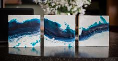 "8×8 inch Triptych ""Wave"" encaustic mixed media painting on cradled board"