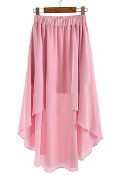 To find out about the Pink Elastic Waist Asymmetrical Chiffon Skirt at SHEIN, part of our latest Skirts ready to shop online today! Chiffon Skirt, Dress Skirt, Diy Fashion, Womens Fashion, Classy And Fabulous, Dress Me Up, Spring Summer Fashion, Nice Dresses, Cute Outfits