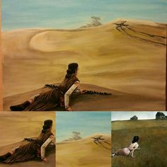 """Rey's World"", Acrylic on canvas, 16x20. Painting inspired by Wyeth's Cristina's World. $60  https://www.etsy.com/shop/CBDESIGNWORKS"