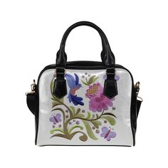 Jacobean Bird Butterflies Floral Embroidery Shoulder Handbag (Model 1634)