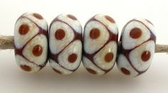 BROWN and IVORY Offset Dots Handmade Lampwork Glass by taneres