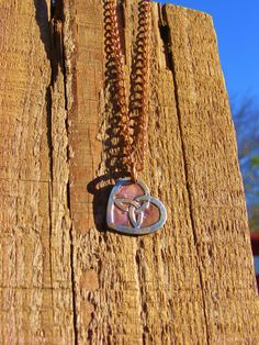 Trinity Heart Necklace. Etched Coin Necklace. Triquetra Necklace. Celtic Knot. Trinity Heart Jewelry
